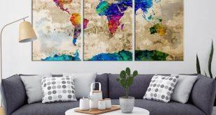 40757 - World Map Wall Art- World Map Canvas- World Map Print- World