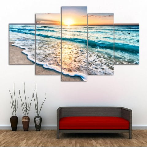 36% OFF ] 2019 Sunset Beach Print Split Canvas Wall Art Paintings