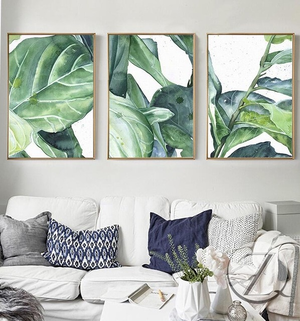 New Summer Green Leaves Wall Art Set Canvas Art Palm Tree Leaves
