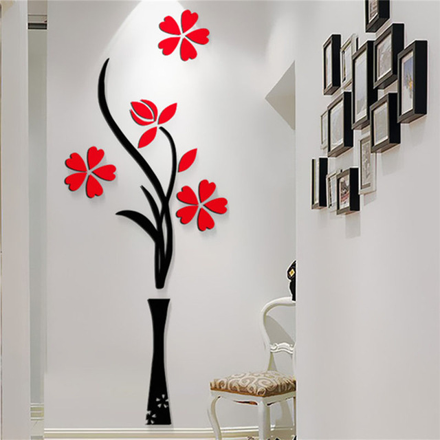 New Beautiful Design Red The Plum Flower Vase Acrylic Art Sticker 3D