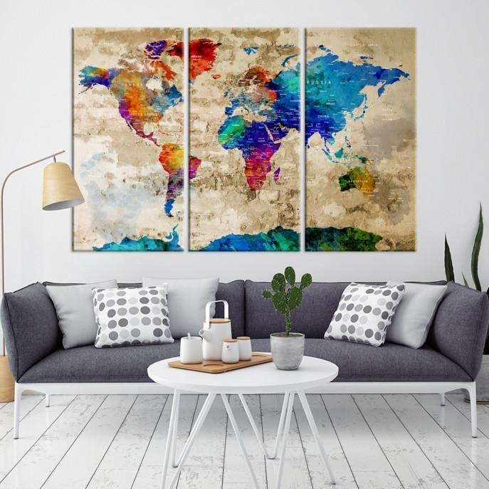 40757 - World Map Wall Art- World Map Canvas- World Map Print- World