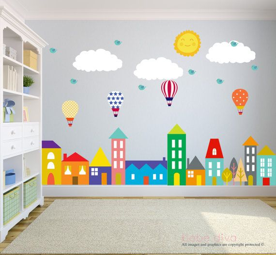 City Wall Decals, Wall Decals Nursery, Nursery Wall Decal, Kids Wall