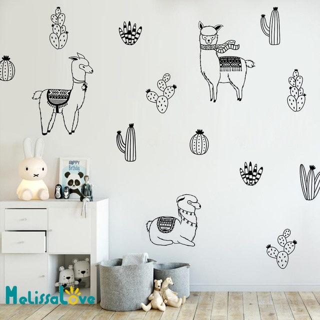 Alpacas and Cacti Wall Decals Kids Room DIY Stickers for Baby Room