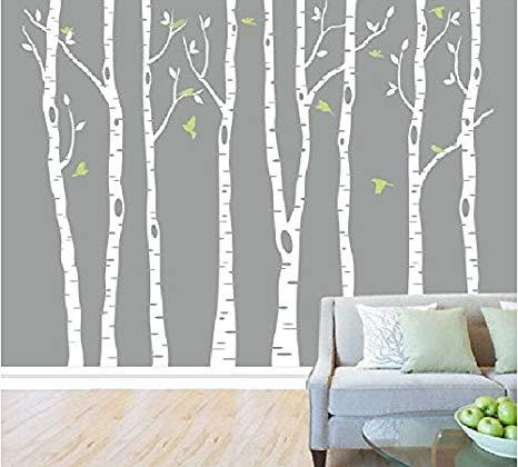 Amazon.com: Set of 8 Birch Tree Wall Decal Nursery Big White Tree