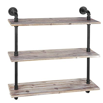 Amazon.com: MyGift 3-Shelf Industrial Style Pipe & Rustic Wood Wall