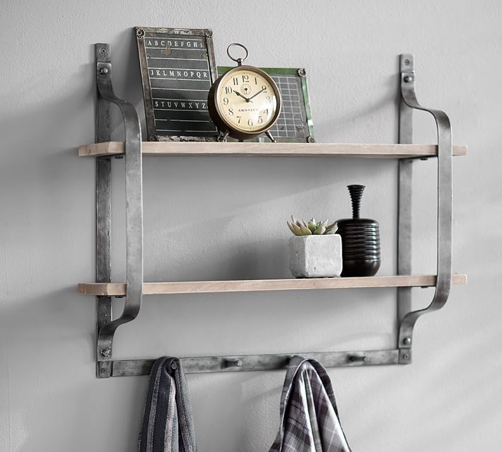 Rustic Pine Shelf with Hooks | Pottery Barn