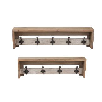 Wall Shelf with Hooks, Metal Wall Shelves | Sagebrook Home