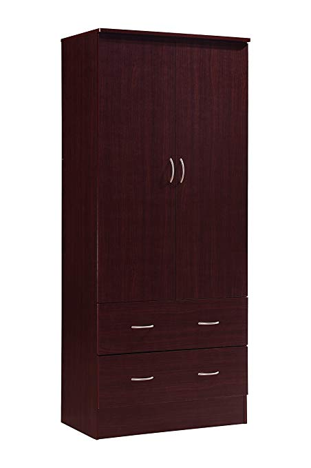 Amazon.com: Hodedah Two Door Wardrobe, with Two Drawers, and Hanging
