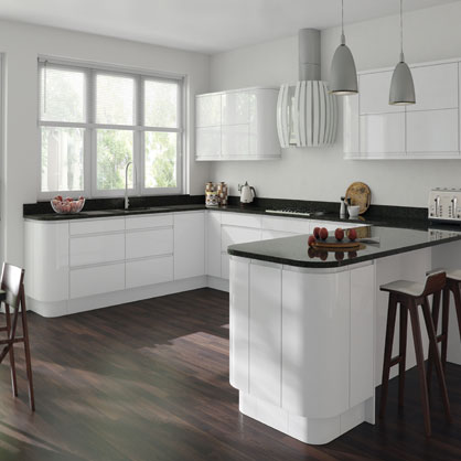 Gemini White Gloss Doors, Handleless Kitchen Cabinet Doors | TopDoors