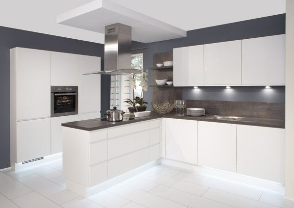 white gloss kitchen with grey worktops - Google Search | home