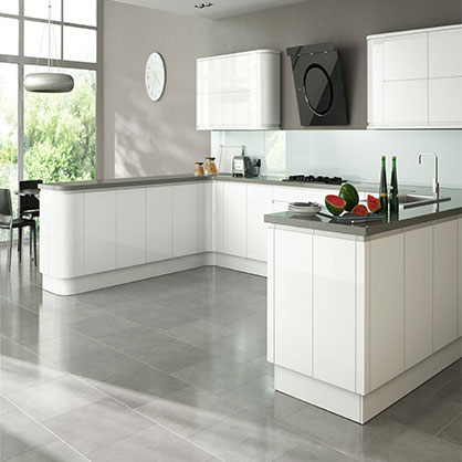 Larissa White Gloss Doors, Handleless Kitchen Cabinet Doors | TopDoors