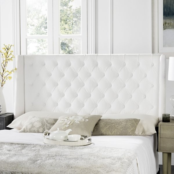 Shop Safavieh London White Tufted Winged Headboard (Queen) - On Sale