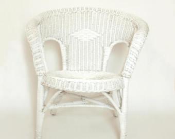 White wicker chair | Etsy