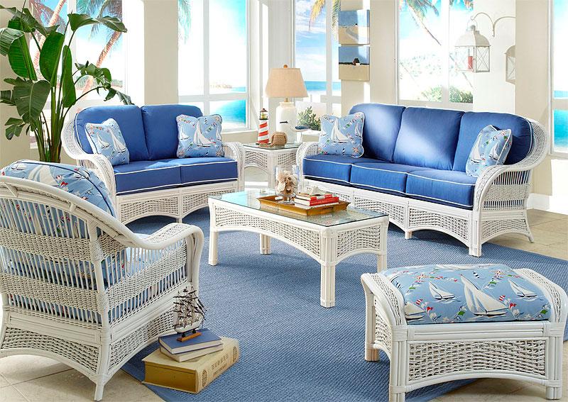 Wicker White Fiji Natural Rattan Wicker Furniture Sets
