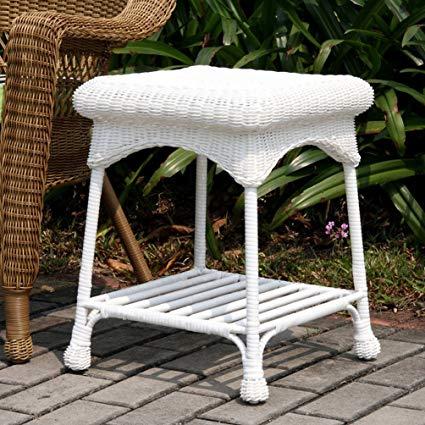 Amazon.com : Wicker Lane Outdoor White Wicker Patio Furniture End