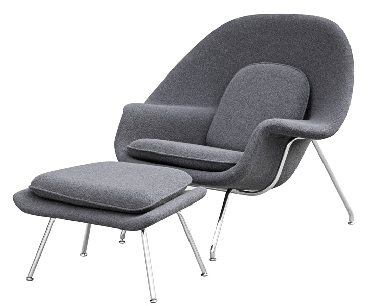 Fine Mod Imports Eero Saarinen Style Womb Chair and Ottoman Set Dark
