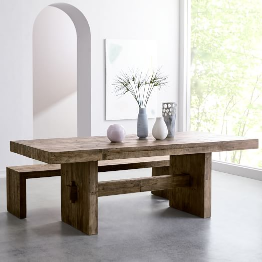 Emmerson® Reclaimed Wood Dining Table - Stone Gray   west elm