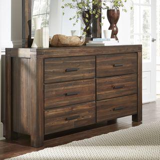 Shop Wire Brushed Six Drawer Solid Wood Dresser in Brick Brown