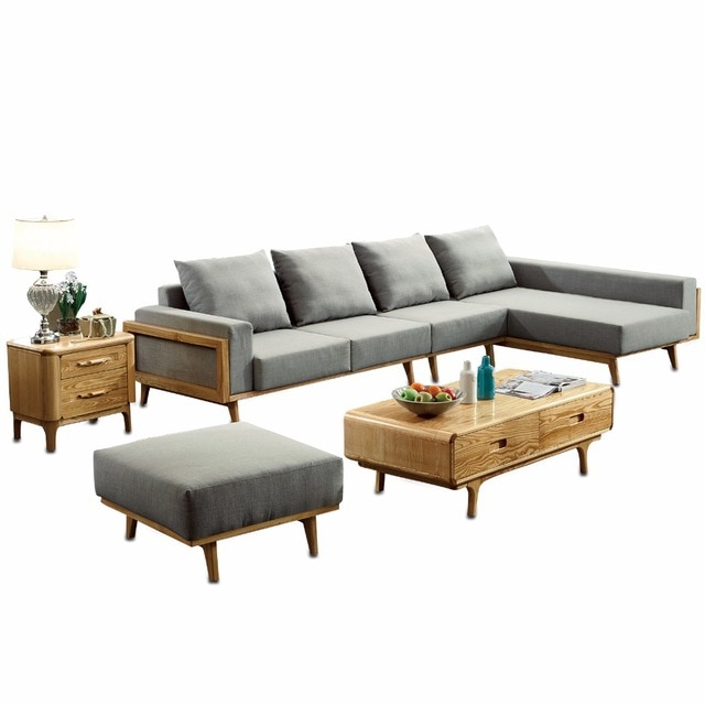 1801B64 Modern living room ash wood solid wood sofa set simple style