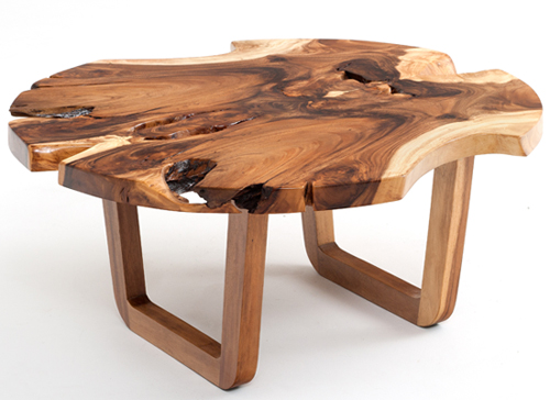 Mountain Modern Coffee Table, Live Edge, Solid Wood, Natural