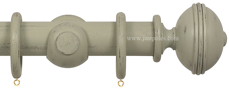 Opus 63mm Wood Curtain Pole Distressed Sage Grey Ribbed --- Just