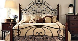 Amazon.com: Queen Size Antique Style Wood Metal Wrought Iron Look