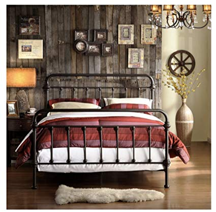 Amazon.com: Wrought Iron Bed Frame Dark Bronze Metal Queen Size Free