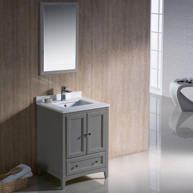 FVN2024GR Oxford 24 Inch Gray Traditional Bathroom Vanity .
