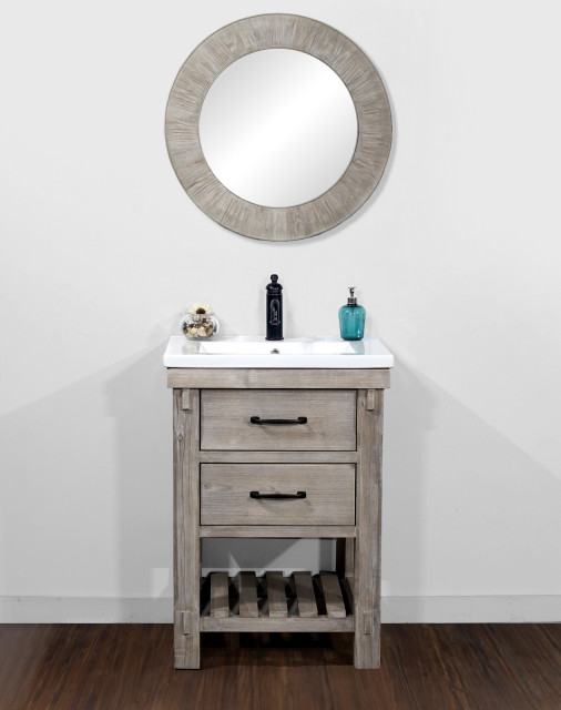 """24"""" Rustic Solid Fir Vanity With Ceramic Single Sink, No Faucet ."""