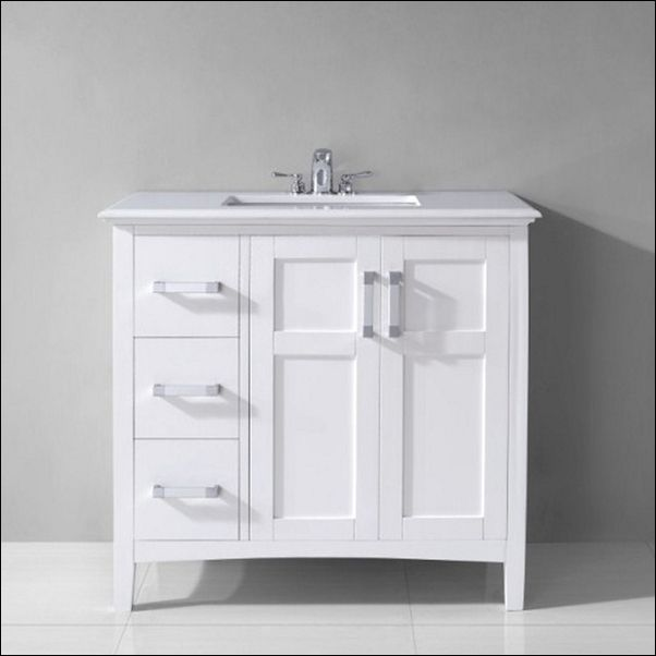 Modern And Simple 30 Inch White Bathroom Vanity With Drawers .