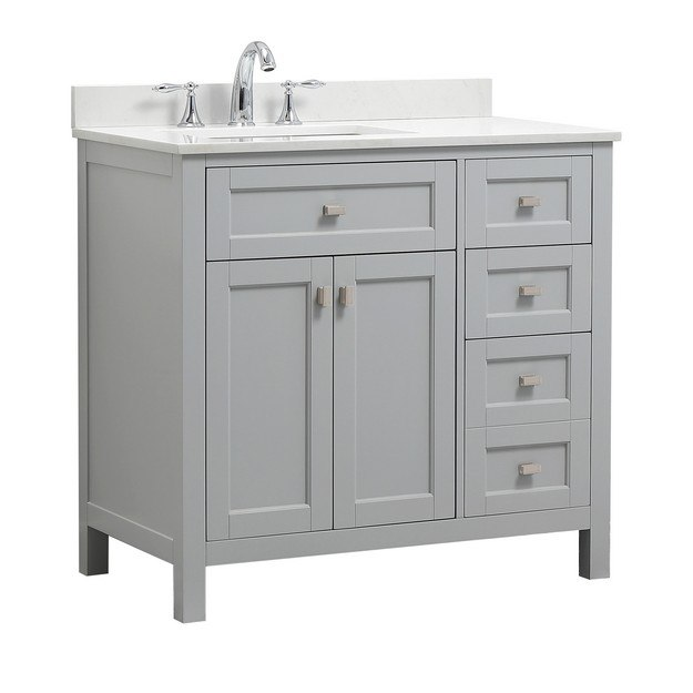 CAHABA CA101013 36 INCH VANITY IN DOVE GREY WITH MARBLE VANITY TOP .