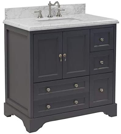 Amazon.com: Madison 36-inch Bathroom Vanity (Carrara/Charcoal Gray .