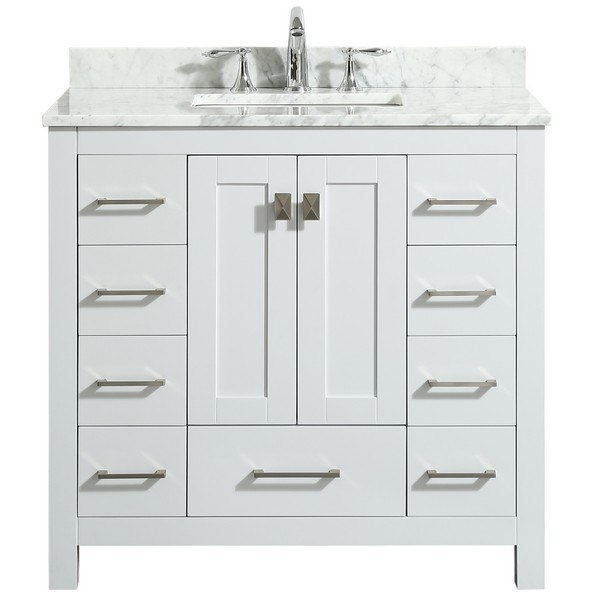 EVIVA EVVN411-36WH HAMPTON 36 INCH TRANSITIONAL BATHROOM VANITY .