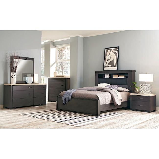 Bedroom Furniture - Camino 7-Piece Queen Bedroom Set - Charcoal .