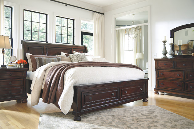 Porter Queen Sleigh Bed with Mirrored Dresser and Chest | Ashley .
