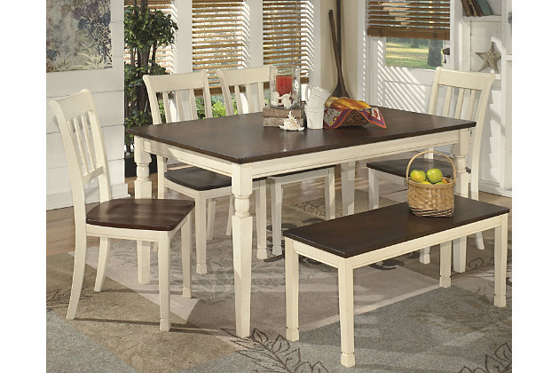 Whitesburg Dining Table and 4 Chairs and Bench | Ashley Furniture .