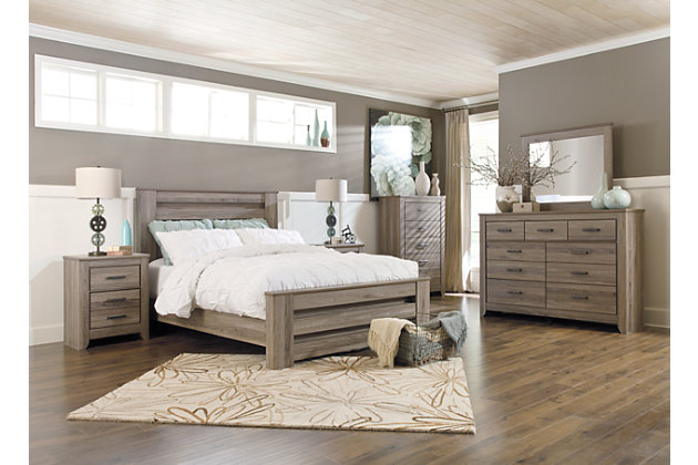 Zelen Queen Panel Bed with Dresser Mirror and Nightstand | Ashley .