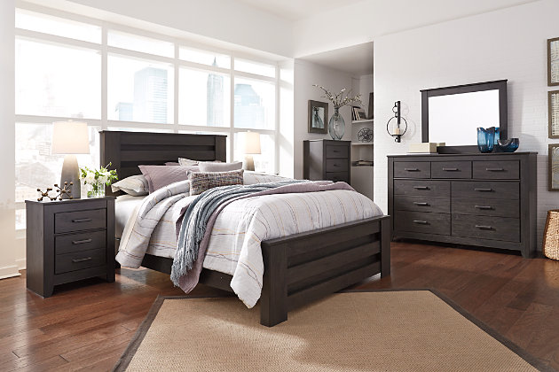 Brinxton Queen Panel Bed with Dresser Mirror and Nightstand .