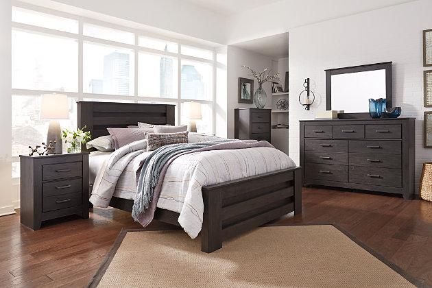 Brinxton Queen Panel Bed with Dresser Mirror and Nightstand .