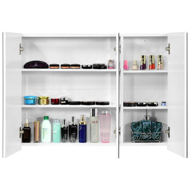 "36"" Wide Wall Mount Mirrored Bathroom Medicine Cabinet Organizer ."