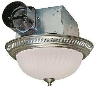 Air King DRLC702 Round Bath Fan with Light, Nickel - Ceiling Fan .