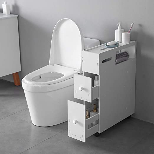 Amazon.com: SSLine Slim Bathroom Floor Cabinet Wood Bathroom .