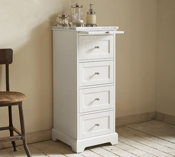 Marble-Top Sundry Tower | Small bathroom storage cabinet .