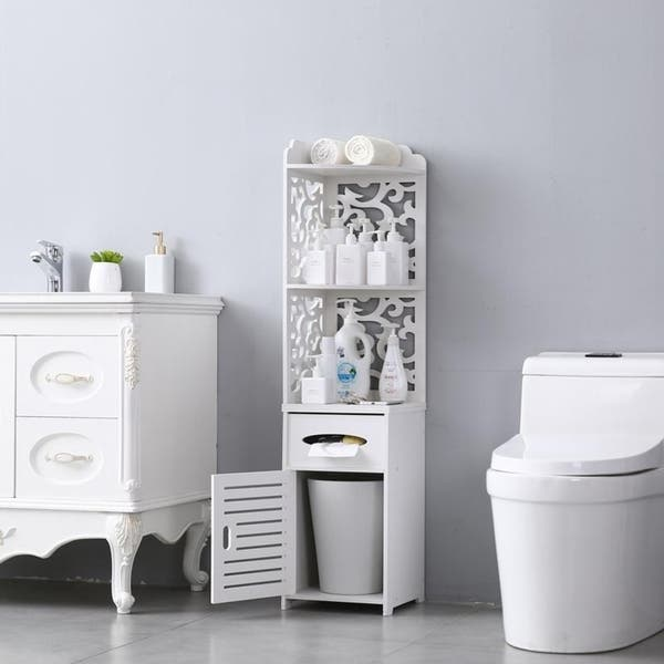 Shop Bathroom Storage Corner Floor Cabinet Thin Toilet Vanity .