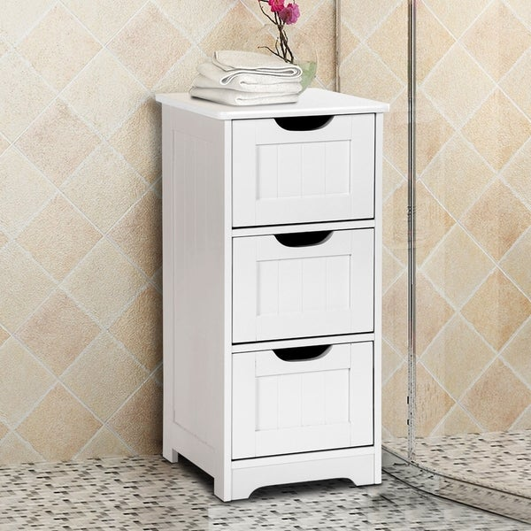 Shop Bathroom Floor Cabinet 3-Drawer Wooden Storage Side Organizer .