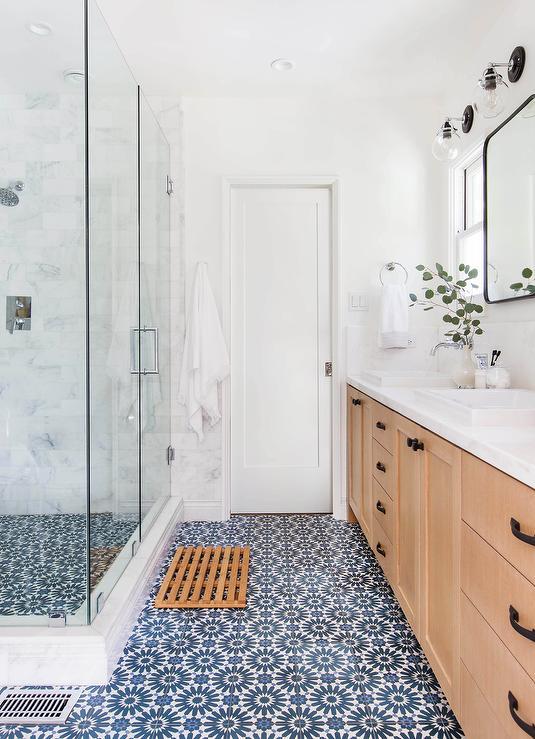 Teak Bath Mat on White and Blue Mosaic Tiles - Transitional - Bathro