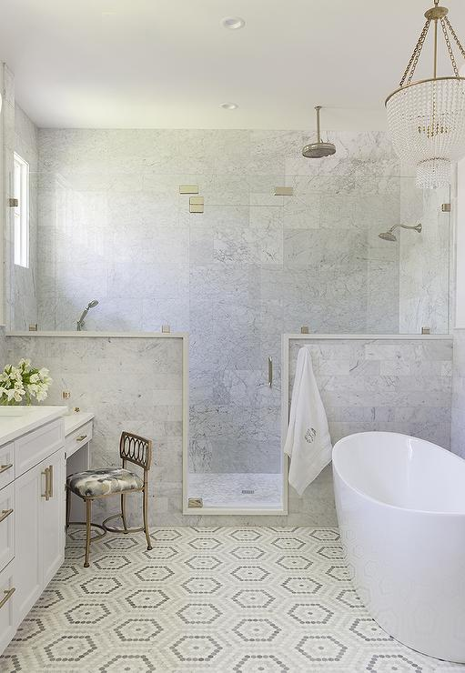 White and Gray Hexagon Pattern Bath Floor Tiles - Transitional .