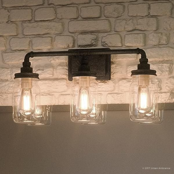 "Shop Luxury Industrial Bathroom Light, 11""H x 21.5""W, with Shabby ."