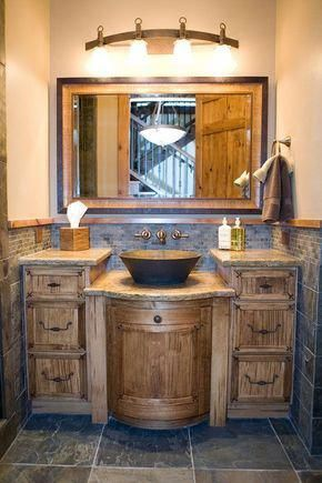 A Rustic themed Bathroom with a modern touch | Image via This .