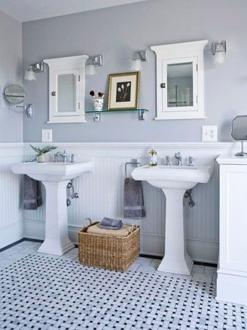1. Love Grey. 2. Love the double pedestal sink. | Bathroom color .